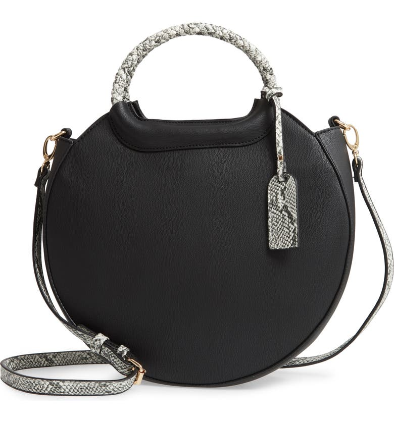 SOLE SOCIETY Hudson Faux Leather Canteen Tote, Main, color, BLACK