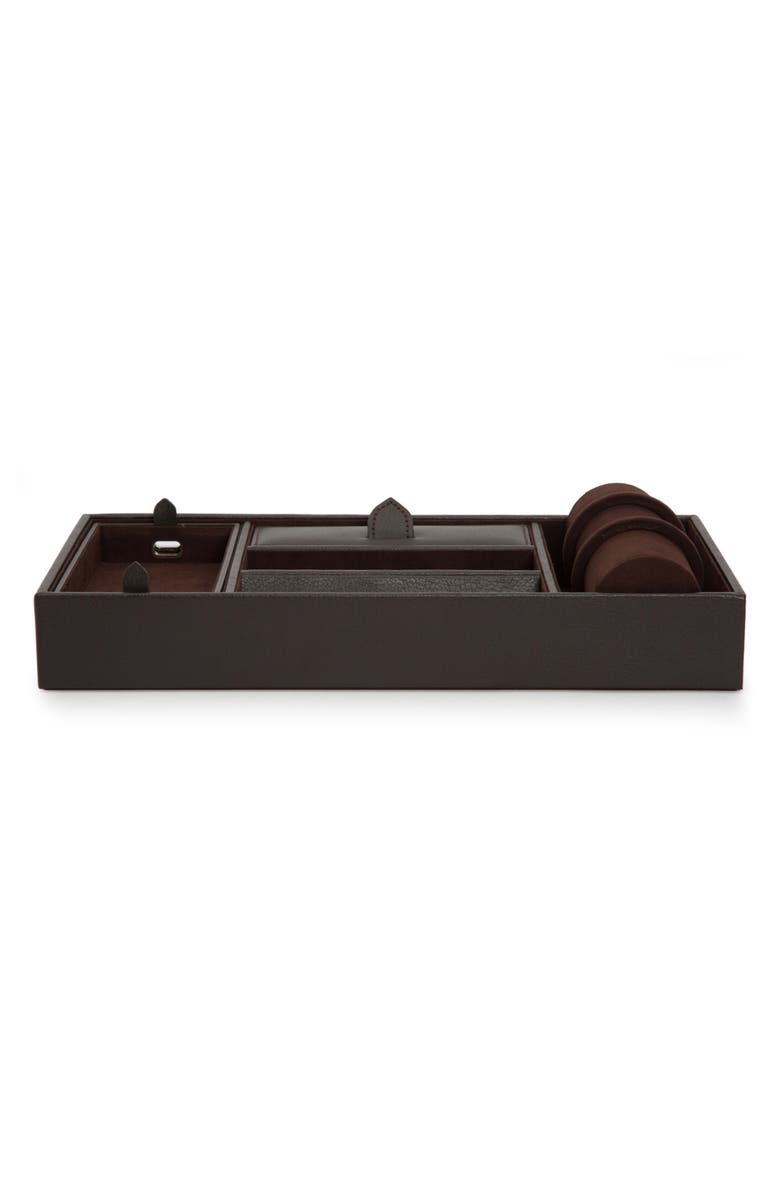 WOLF Blake Valet Tray & Watch Cuff, Main, color, BROWN