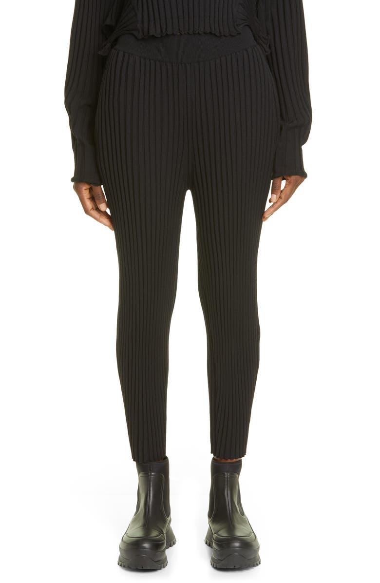 STELLA MCCARTNEY Rib Wool Blend Sweater Pants, Main, color, 001