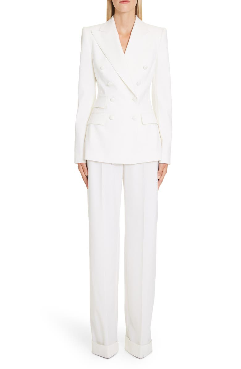 DOLCE&GABBANA Double Breasted Stretch Wool Blend Jacket, Main, color, WHITE