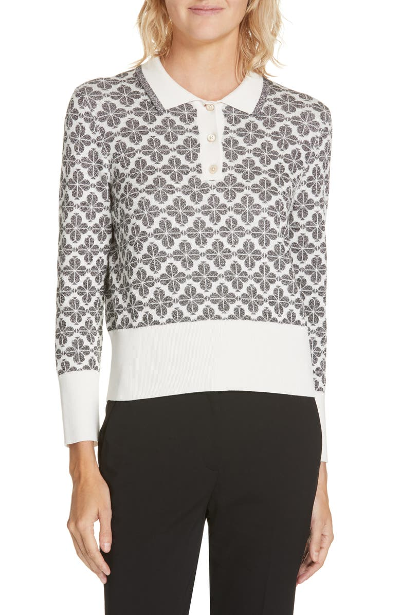 KATE SPADE NEW YORK floral spade sweater, Main, color, BLACK