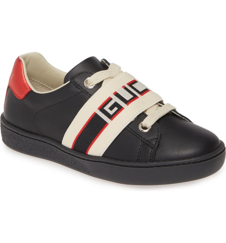 GUCCI New Ace Stripe Sneaker, Main, color, BLACK