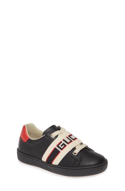 Gucci Kids' New Ace Stripe Sneaker In Black