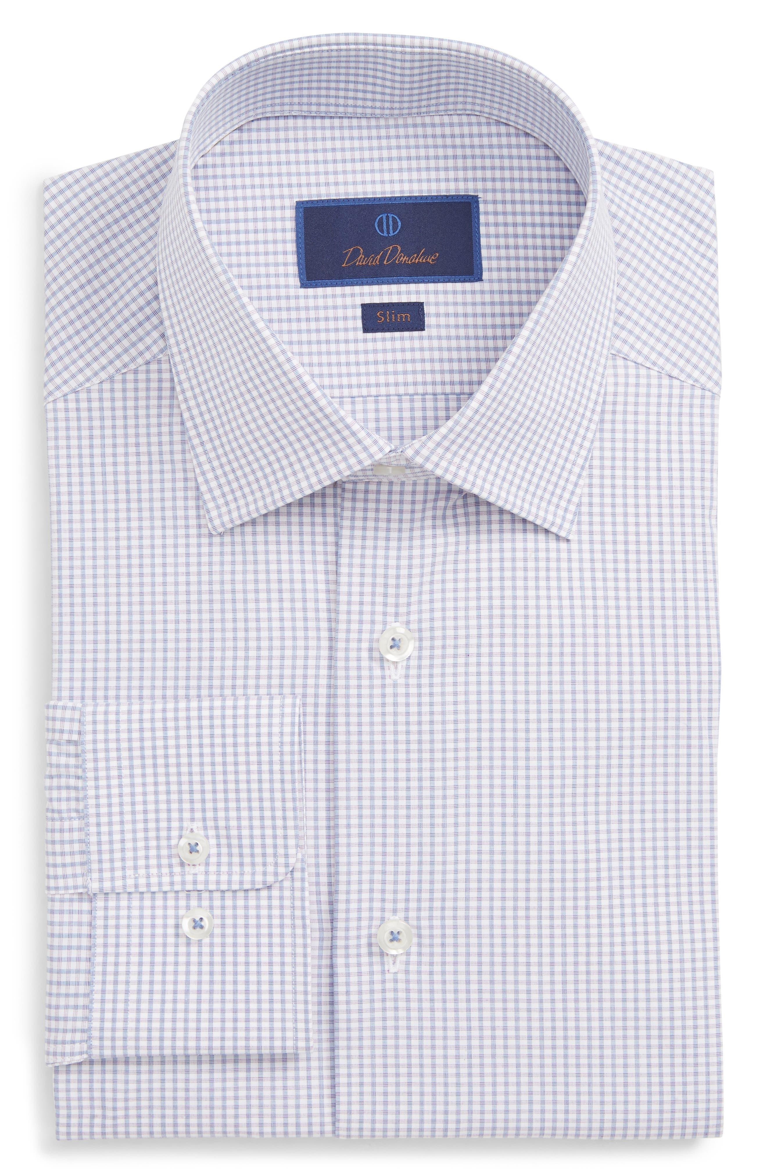 Slim Fit Gingham Dress Shirt, Main, color, PURPLE