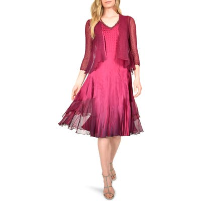 Komarov Beaded Charmeuse & Chiffon Dress And Jacket, Burgundy
