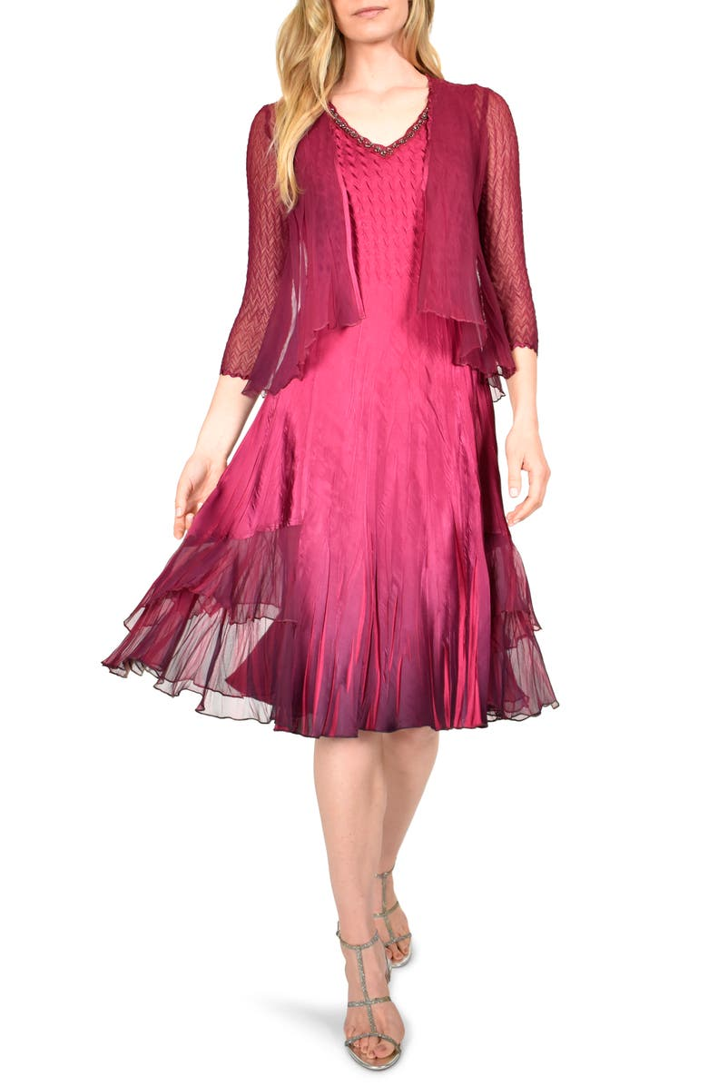 KOMAROV Beaded Charmeuse & Chiffon Dress and Jacket, Main, color, RED PLUM BLUE OMBRE