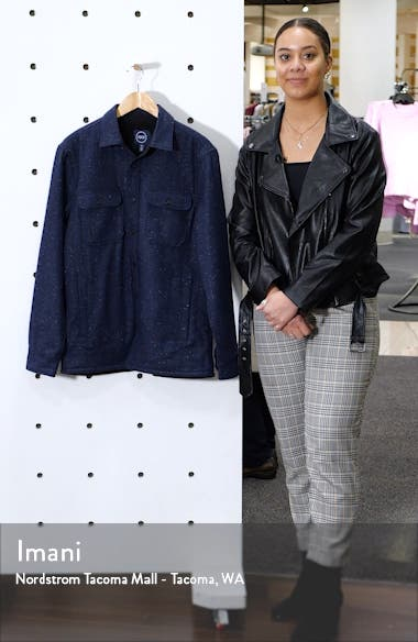 Faux Fur Lined Wool Blend Shirt Jacket, sales video thumbnail