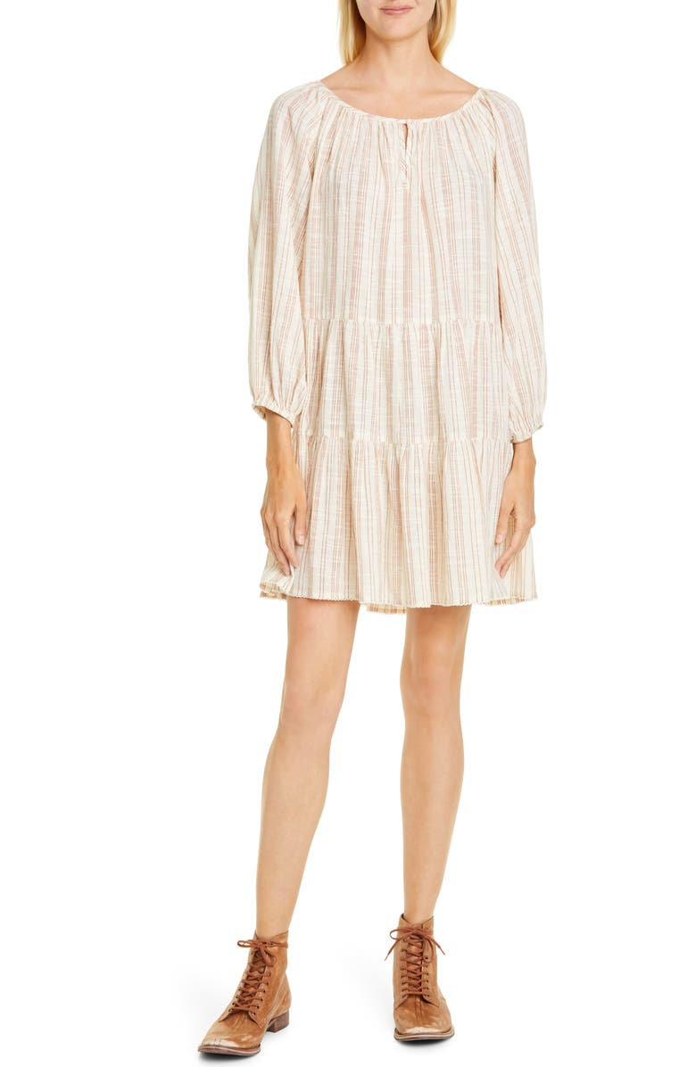 THE GREAT. The Prairie Stripe Cotton Shift Dress, Main, color, SADDLE STRIPE