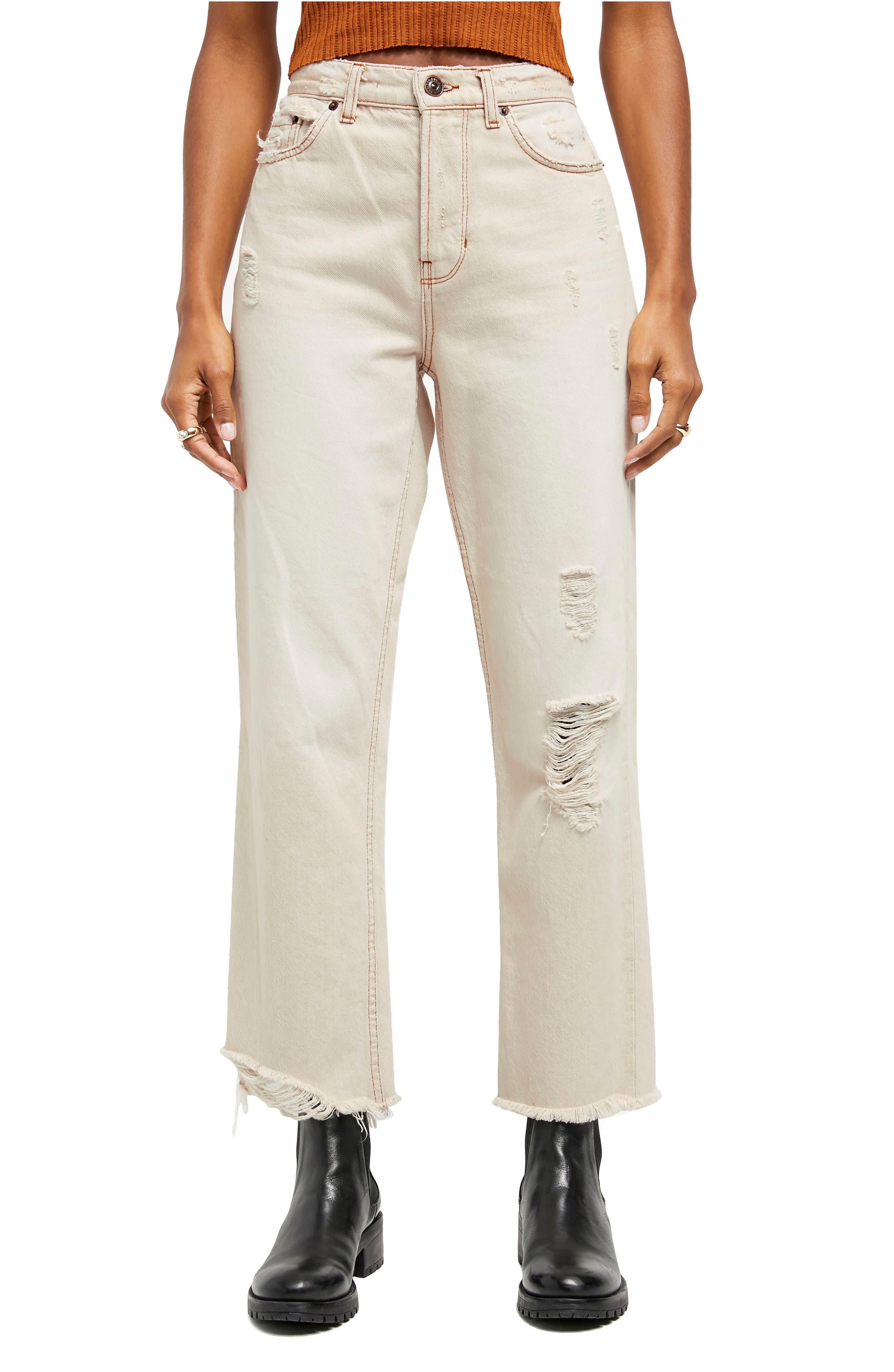Pax Raw Hem Ripped High Waist Jeans