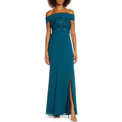 Chi Chi London Fenella Off The Shoulder Trumpet Gown, Green