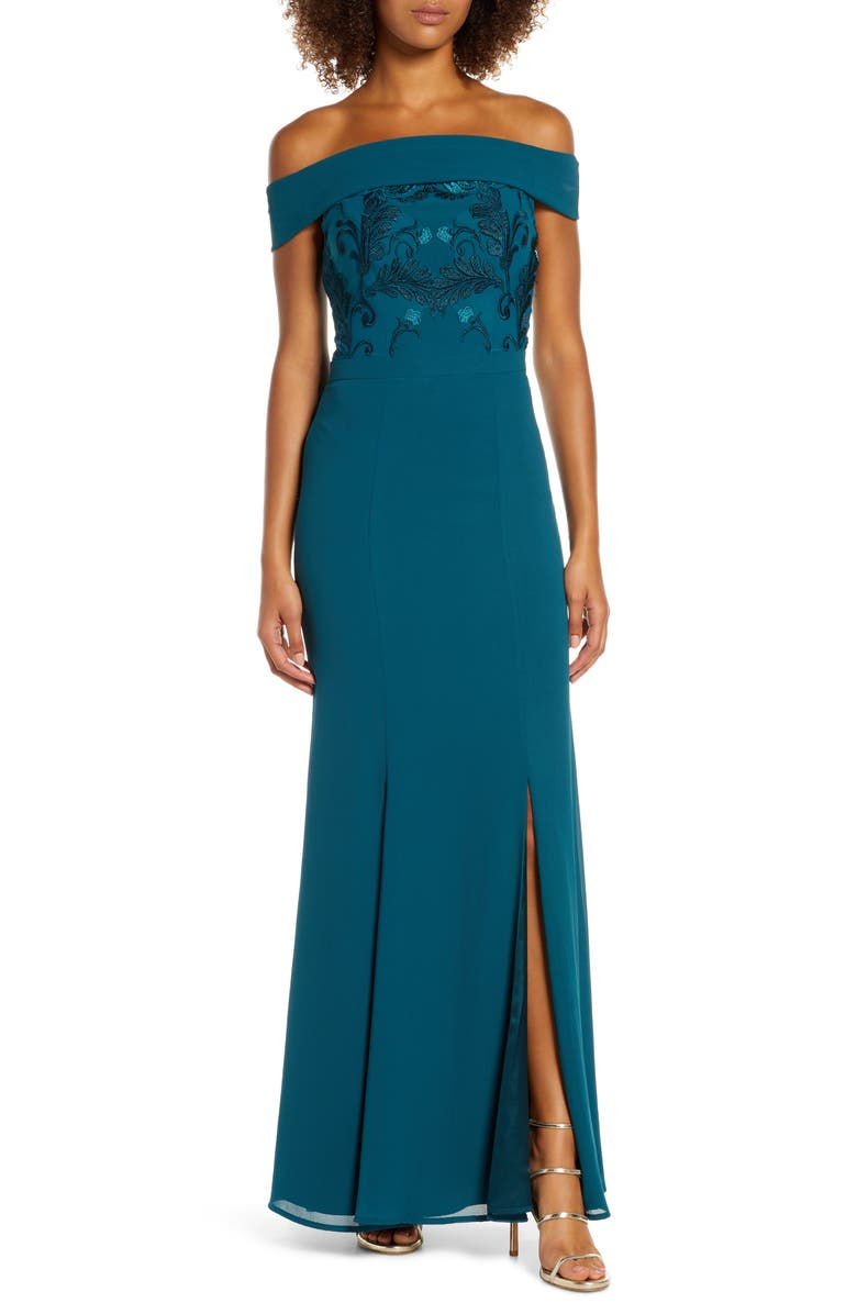 CHI CHI LONDON Fenella Off the Shoulder Trumpet Gown, Main, color, TEAL