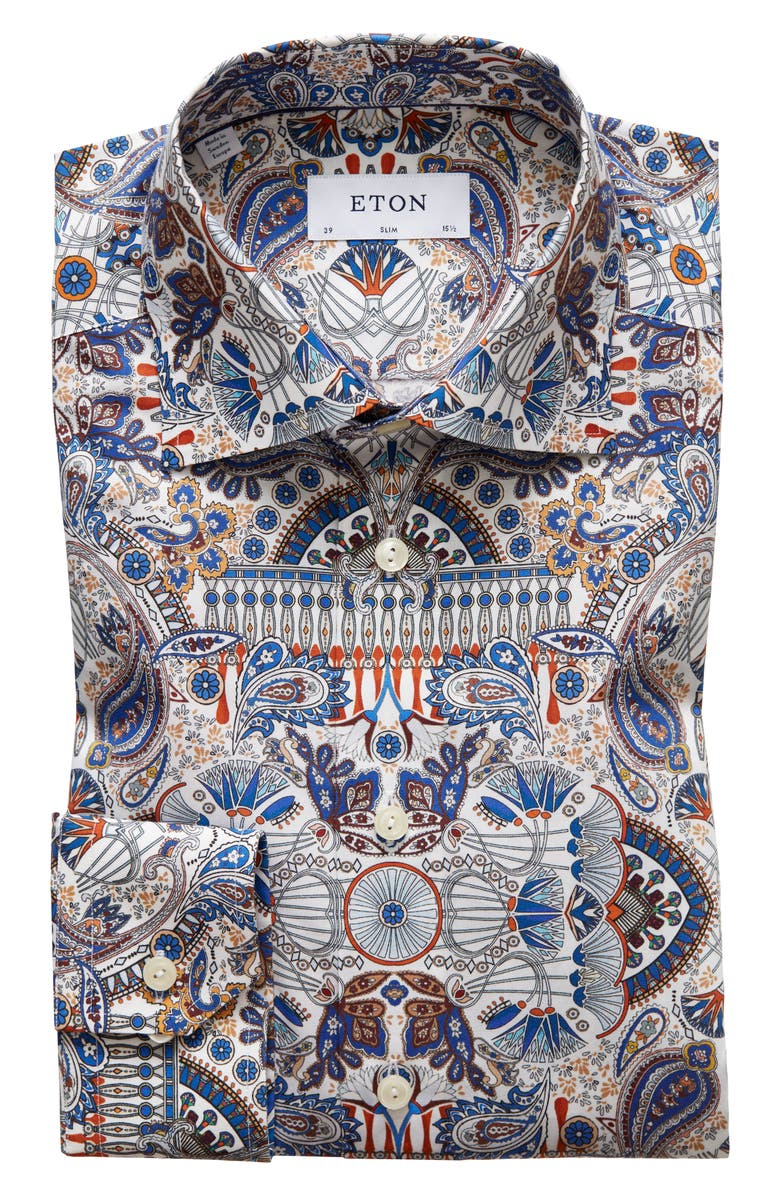 ETON Slim Fit Paisley Dress Shirt, Main, color, BLUE