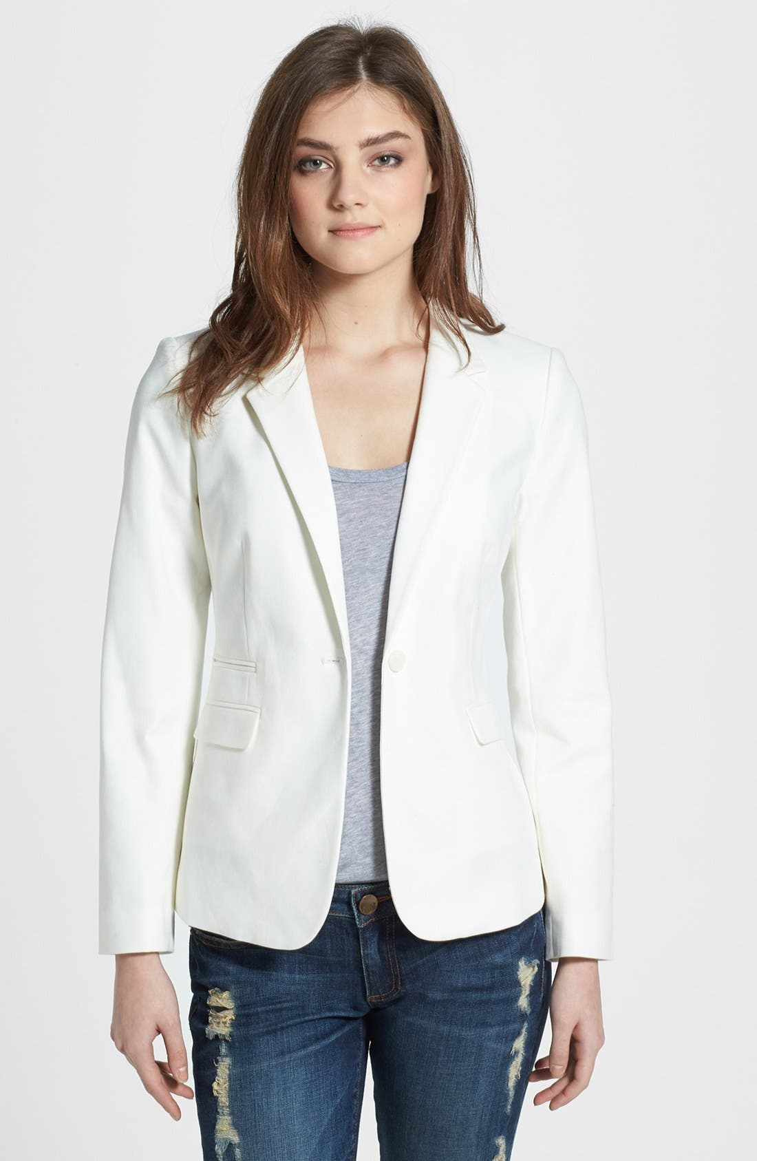 ,                             Stretch Cotton One-Button Blazer,                             Main thumbnail 1, color,                             NEW IVORY