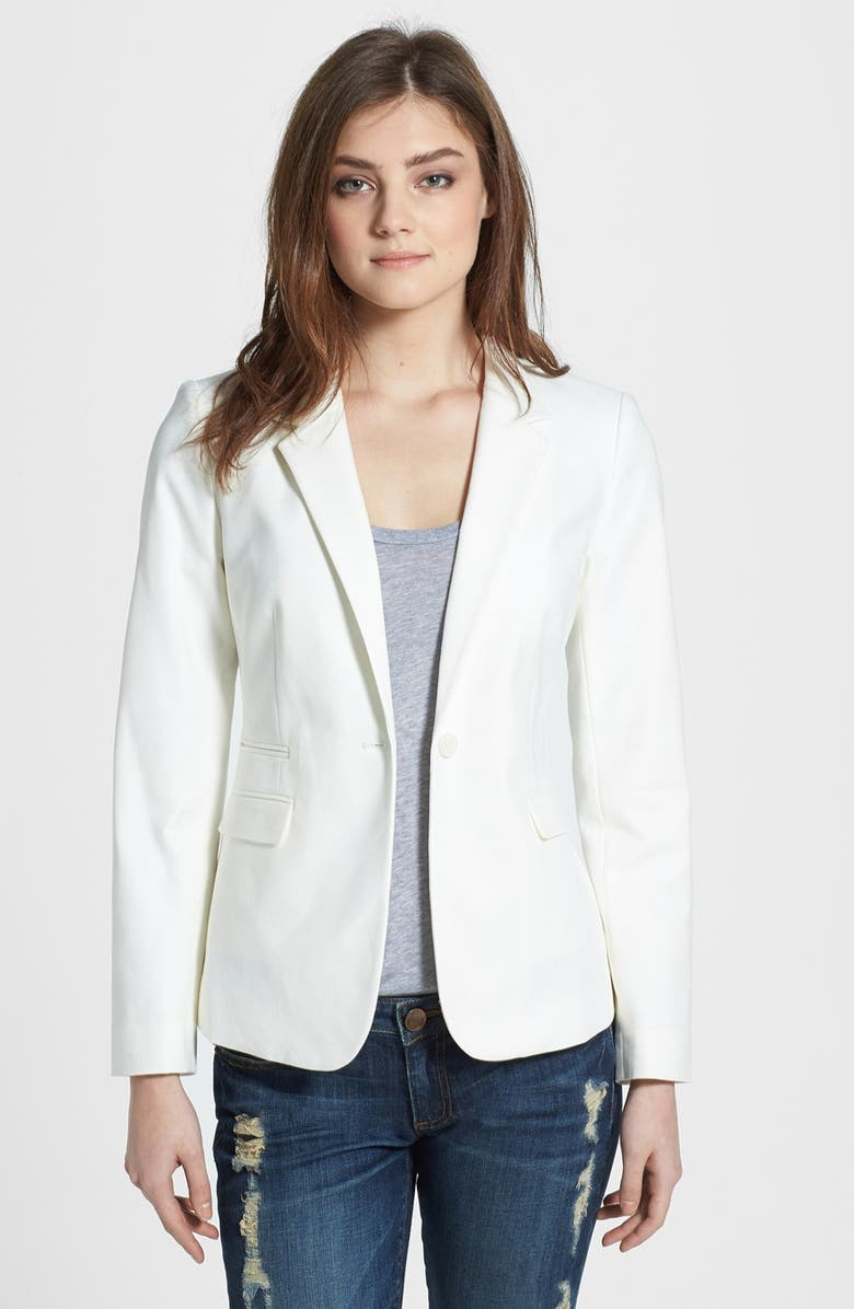 VINCE CAMUTO Stretch Cotton One-Button Blazer, Main, color, NEW IVORY