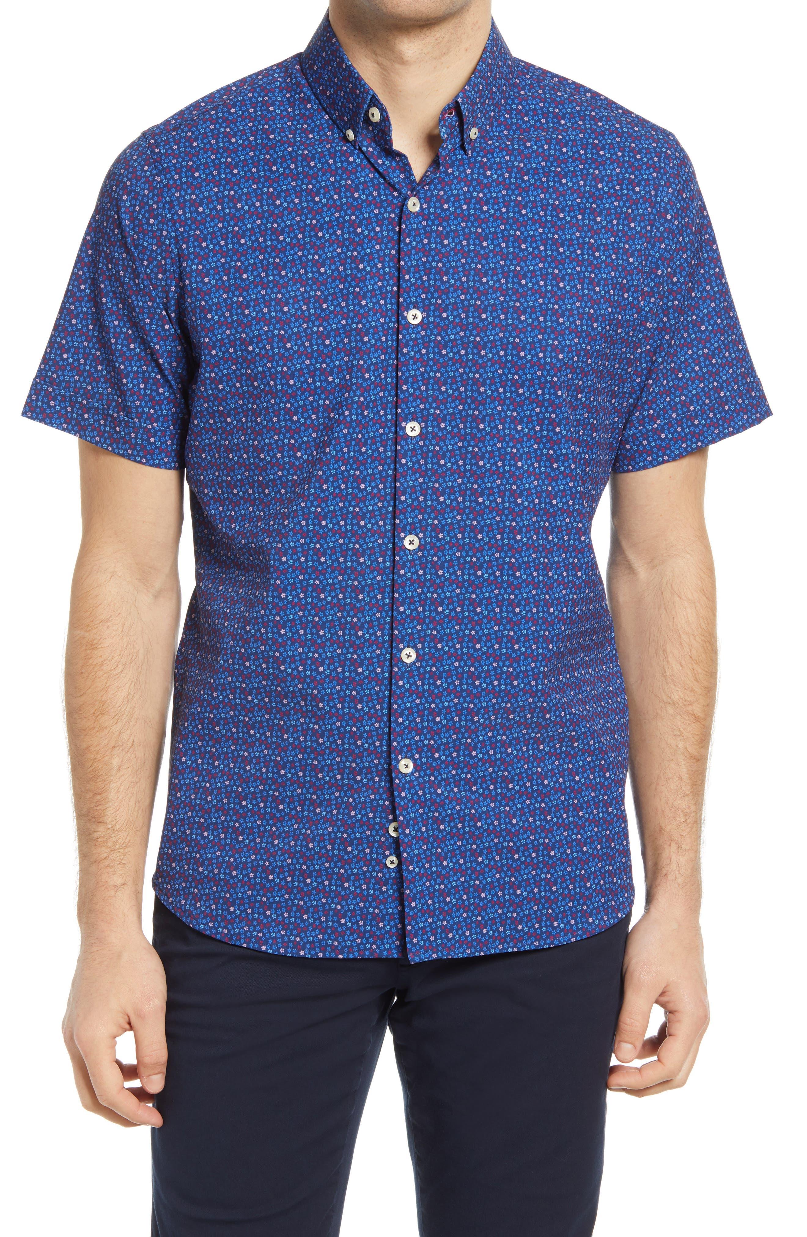 Regular Fit Short Sleeve Button-Up Performance Shirt