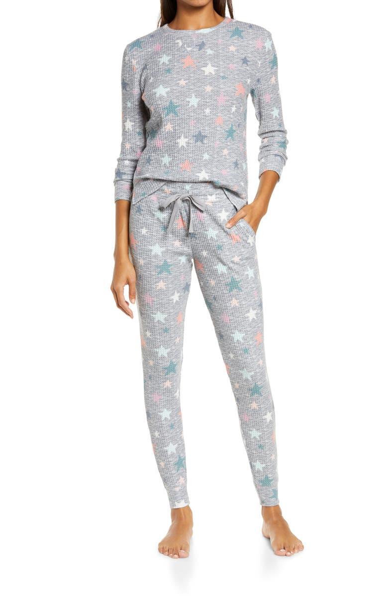 EMERSON ROAD Waffle Knit Pajamas, Main, color, WINDSTAR TRADEWINDS INTARSIA