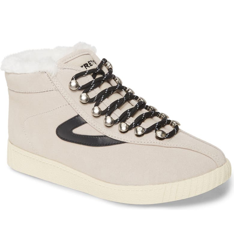 TRETORN Nylite Hi 50 Faux Fur Lined High Top Sneaker, Main, color, ICING/ ICING/ BLACK