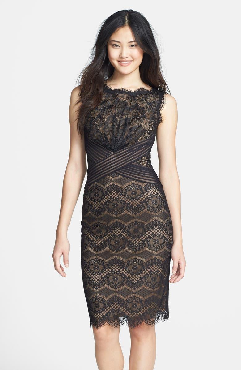 TADASHI SHOJI Lace Sheath Dress, Main, color, 004