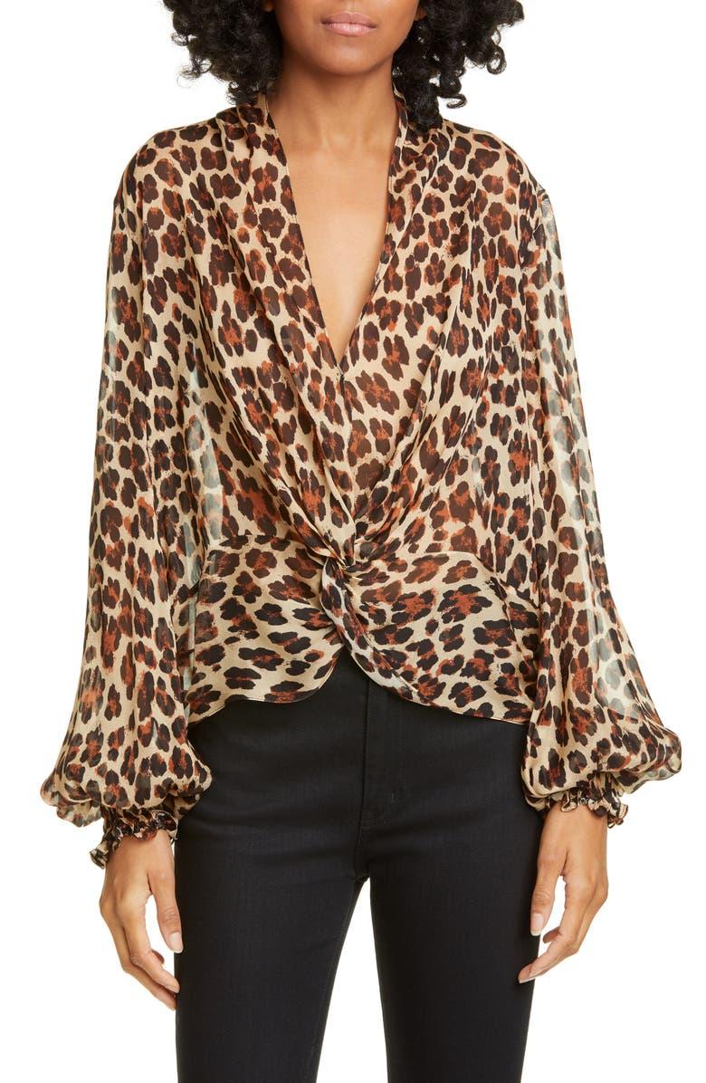 CAROLINE CONSTAS Bette Twist Front Leopard Print Silk Blouse, Main, color, LEOPARD