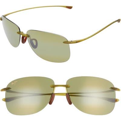 Maui Jim Hikina 62Mm Polarizedplus2 Rimless Sunglasses - Matte Olive/ Gold