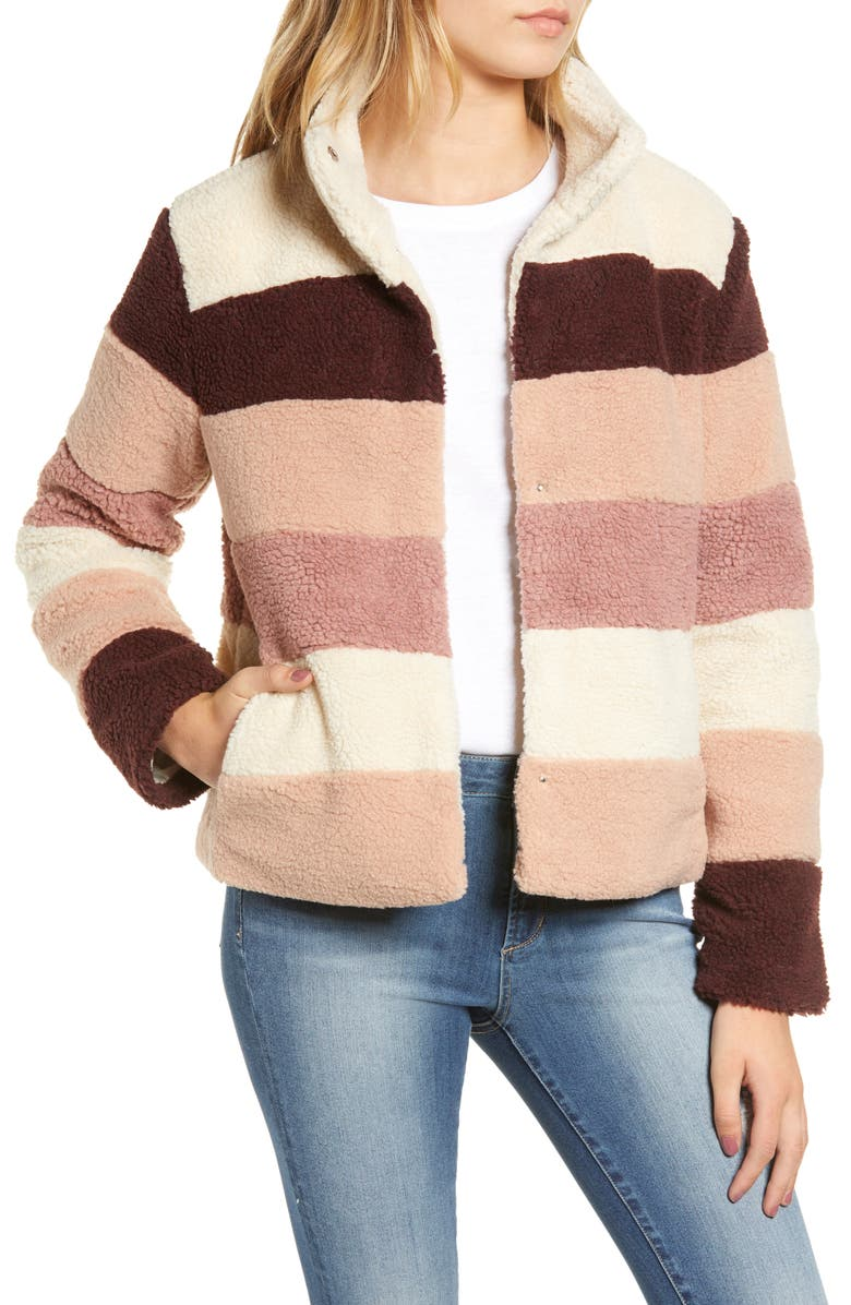 BP. Stripe Faux Shearling Jacket, Main, color, 900