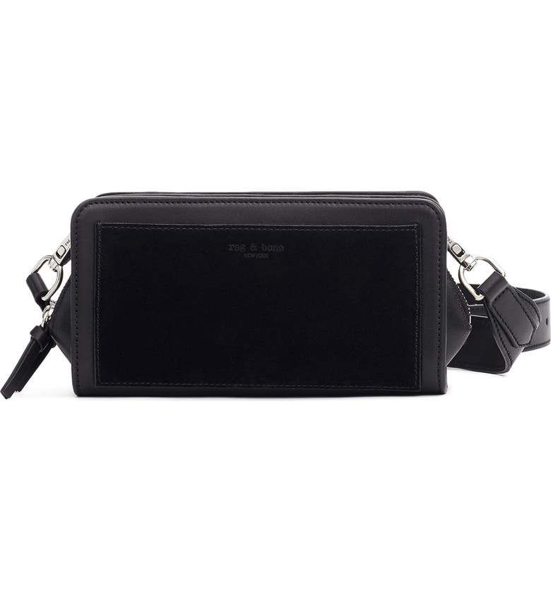 RAG & BONE Capture Leather Crossbody Bag, Main, color, BLACK