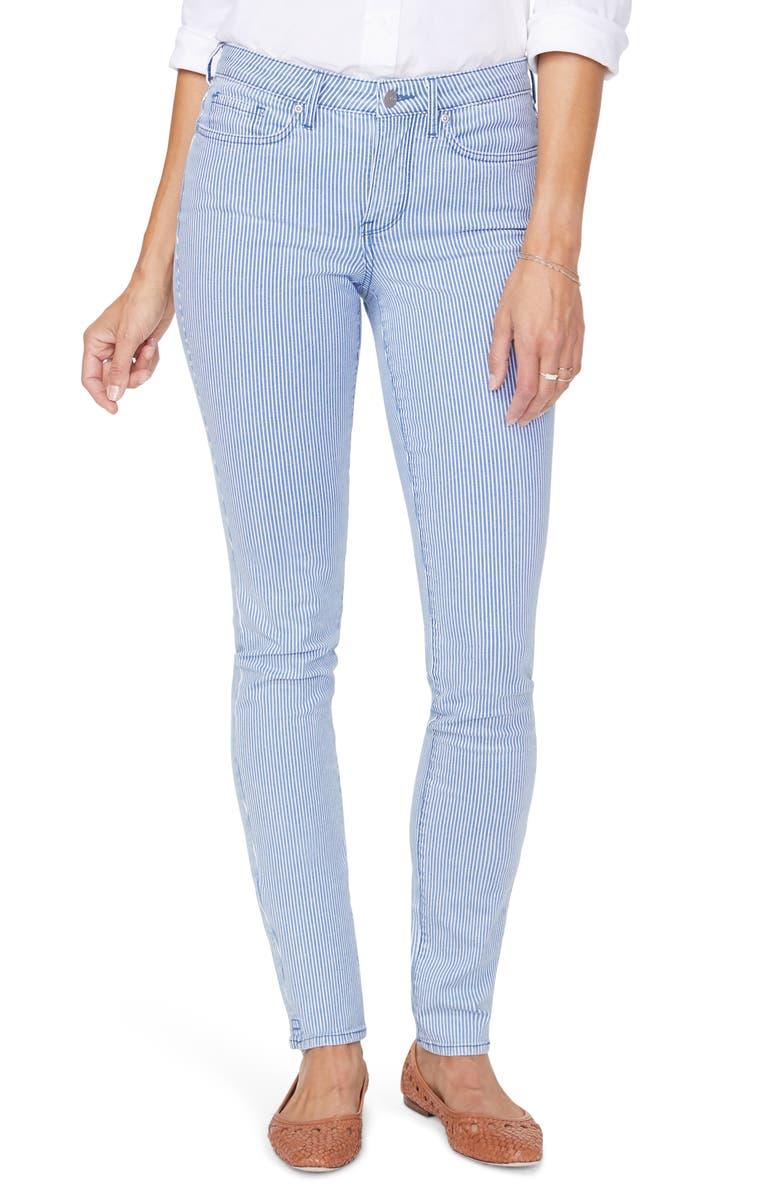 NYDJ Alina Pinstripe High Waist Stretch Skinny Jeans, Main, color, TRELLA