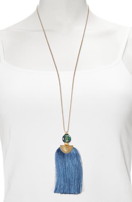 Image of Sole Society Abalone Shell Accent Tassel Pendant Necklace