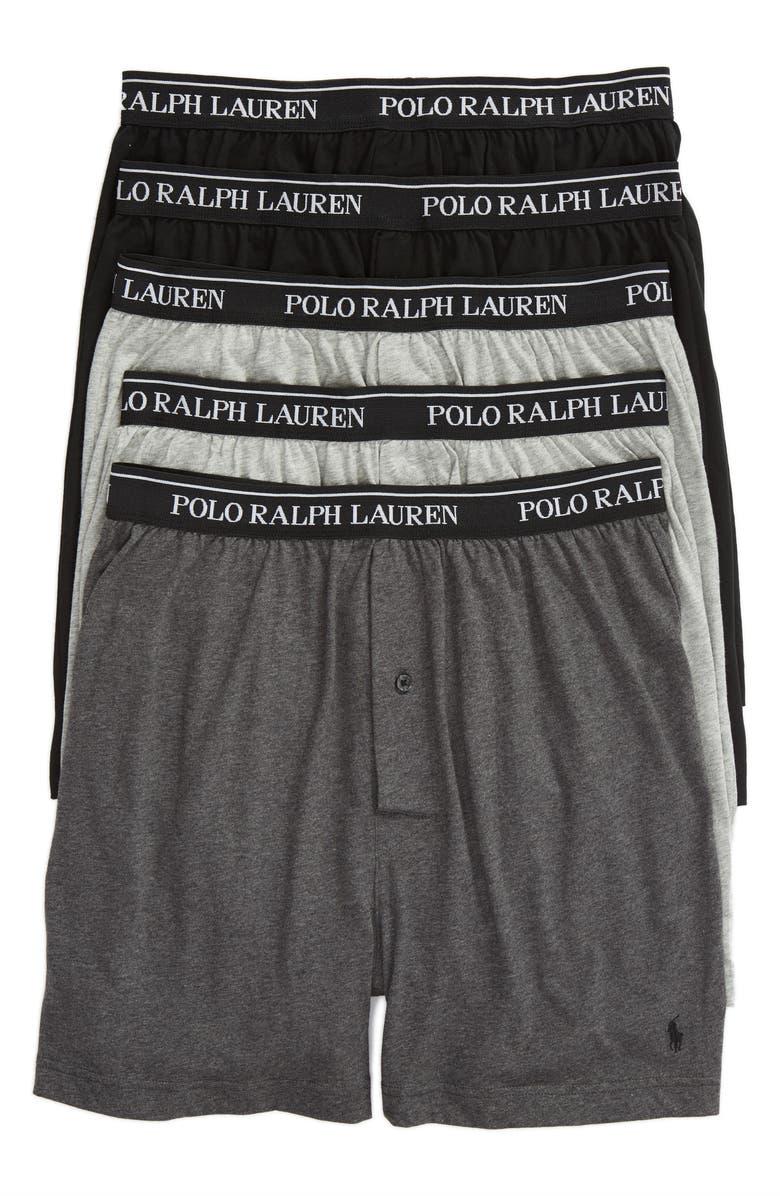 POLO RALPH LAUREN 5-Pack Cotton Boxers, Main, color, GREY/ BLACK MULTI