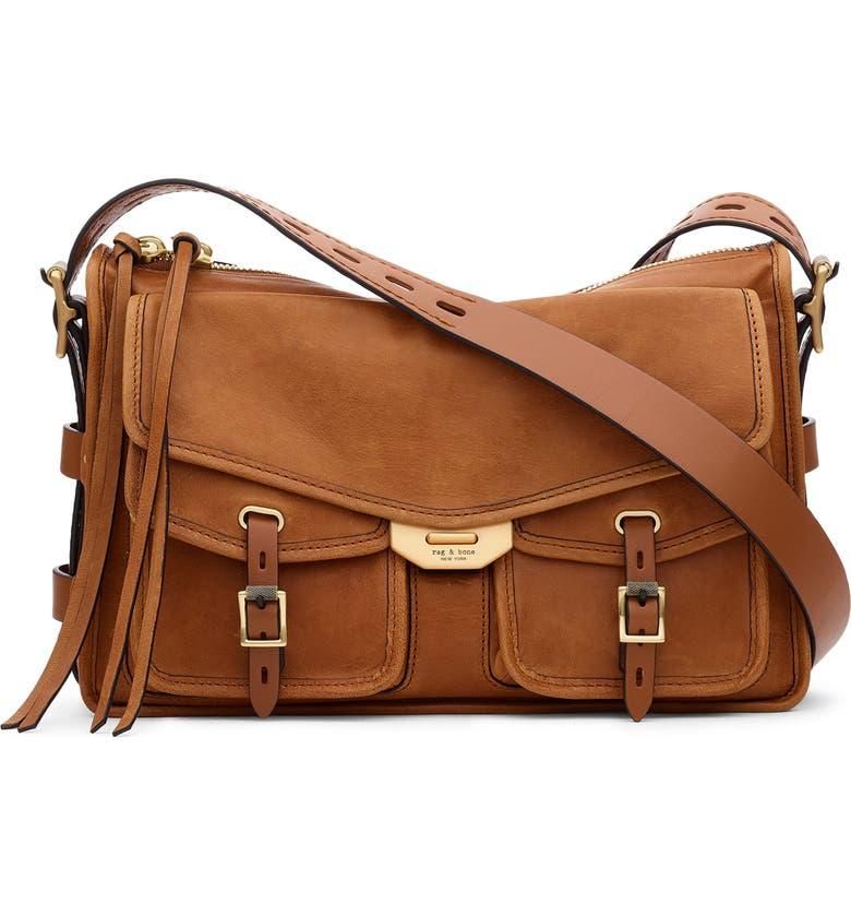 RAG & BONE Field Leather Messenger Bag, Main, color, BROWN