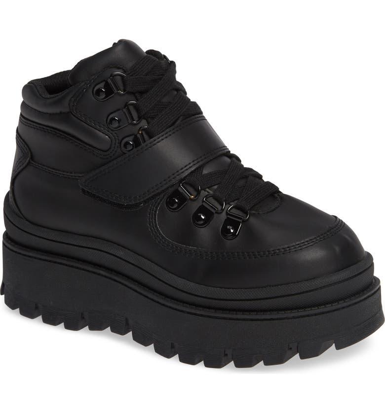 JEFFREY CAMPBELL Top-Peak Hiker Boot, Main, color, BLACK/ BLACK LEATHER