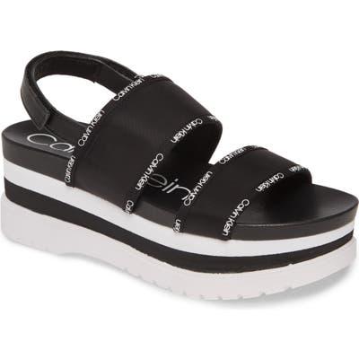 Calvin Klein Nola Logo Slingback Platform Sandal, Black