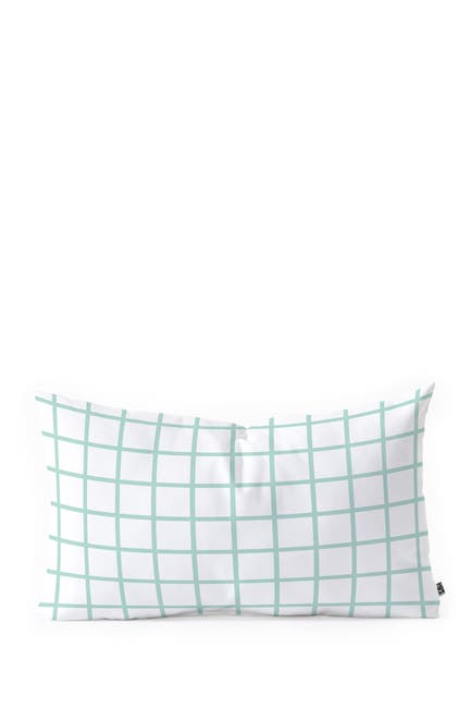 Image of Deny Designs Little Arrow Design Co Mint Grid Oblong Throw Pillow