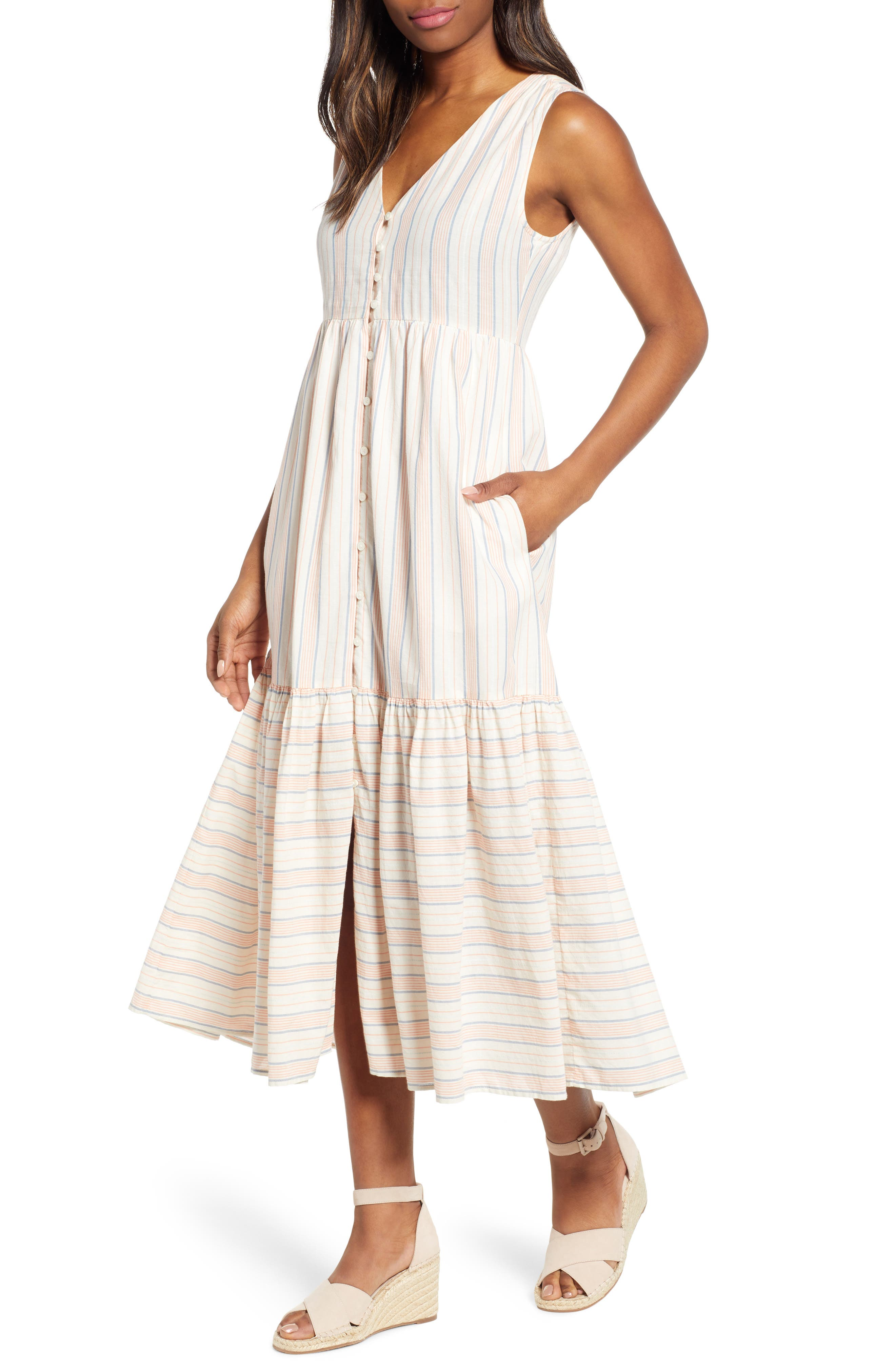 Lucky Brand Luna Button Through Cotton Sundress, Ivory