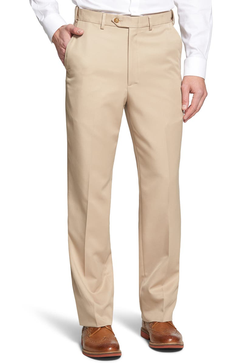 BERLE Self Sizer Waist Flat Front Classic Fit Trousers, Main, color, TAN