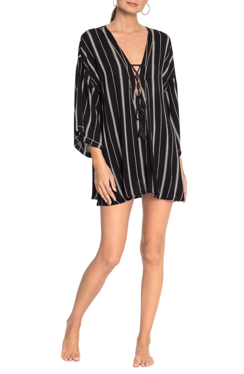 ROBIN PICCONE Claire Lace-Up Cover-Up Tunic, Main, color, 001