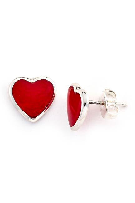 Image of Samuel B Jewelry Sterling Silver Coral Heart Stud Earrings