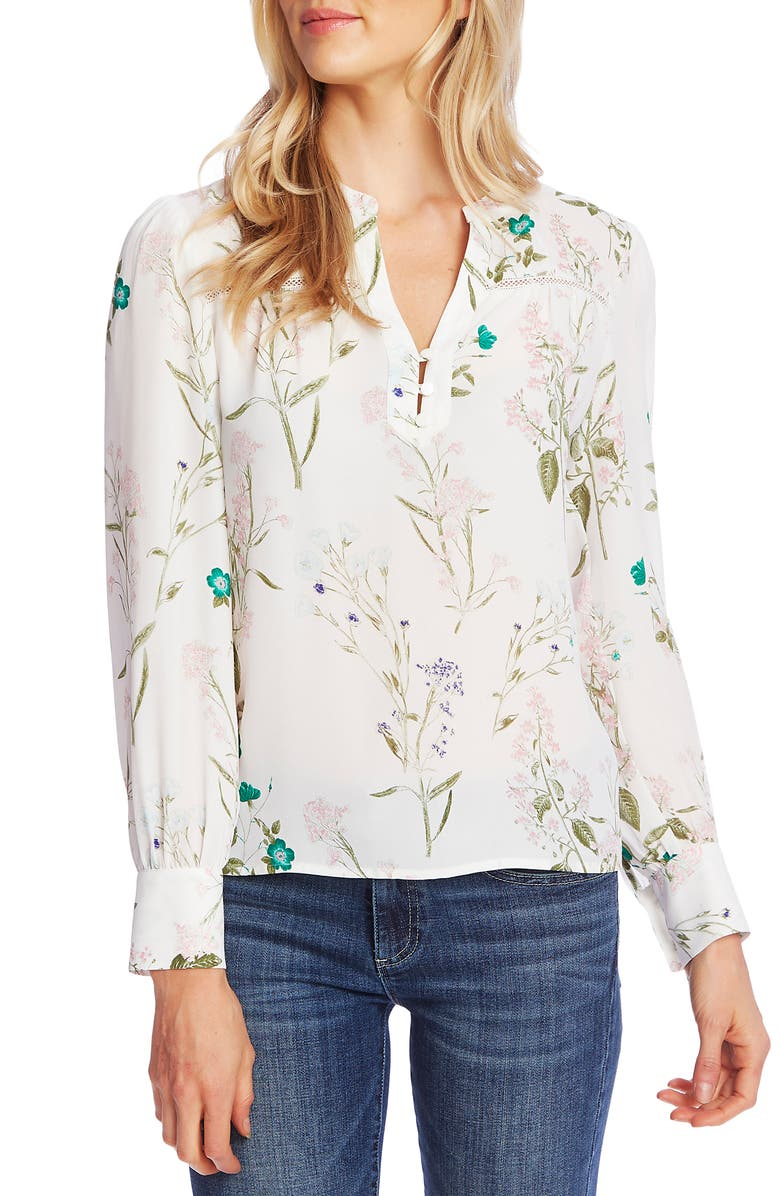 CECE Winter Botanical Split Neck Blouse, Main, color, SOFT ECRU
