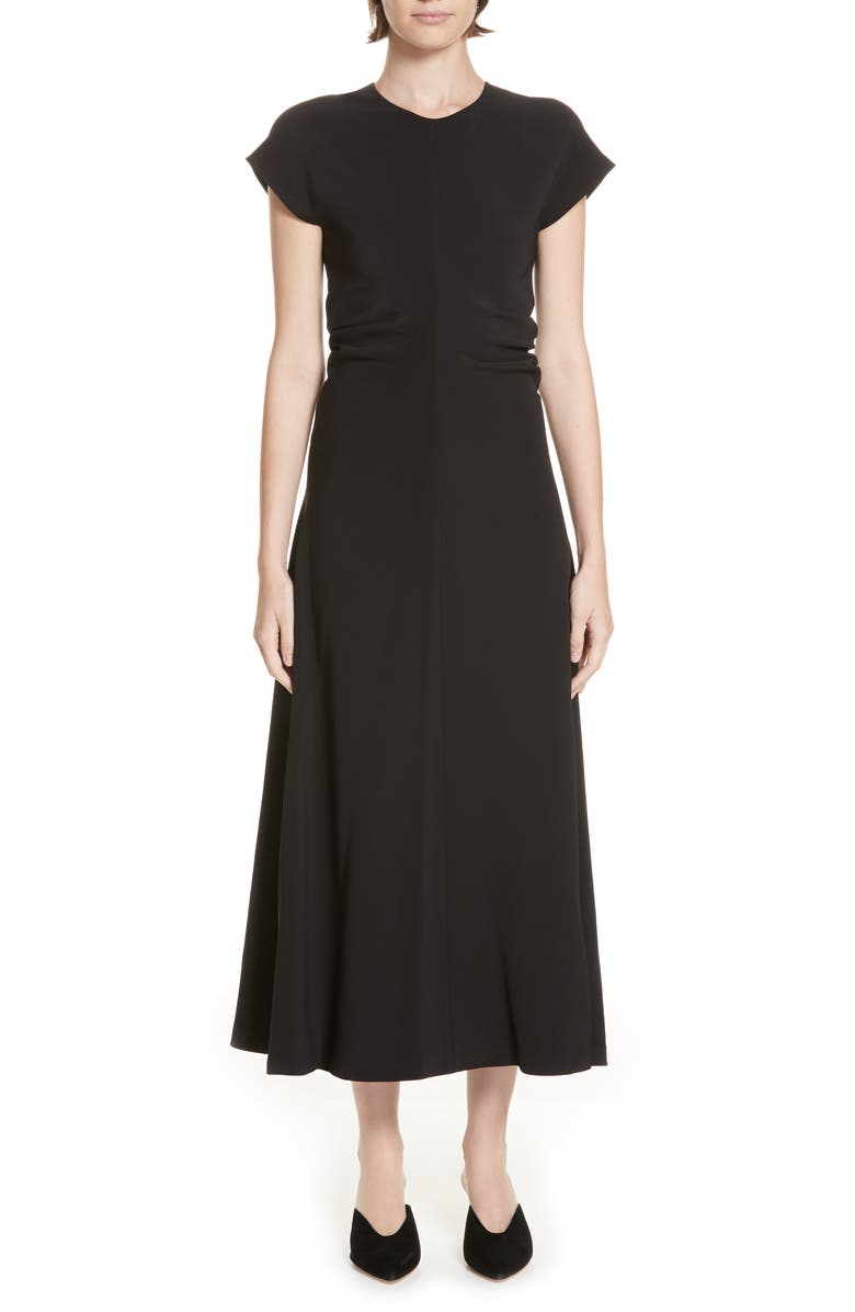 ROSETTA GETTY Ruched Stretch Cady Dress, Main, color, BLACK
