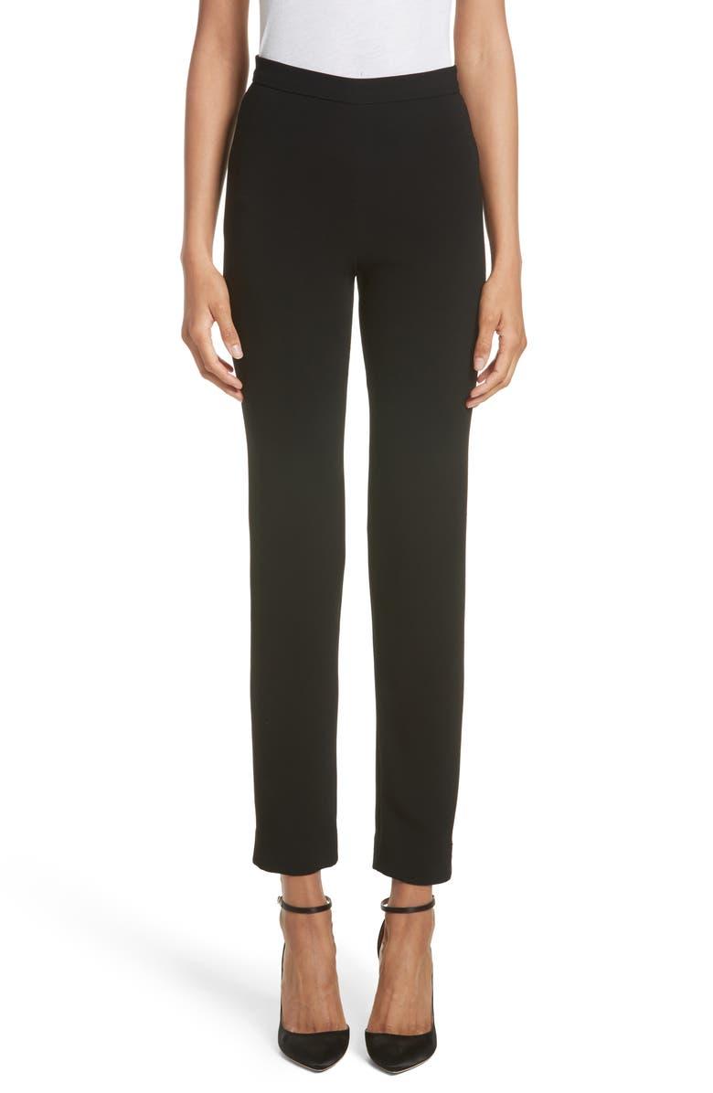 BRANDON MAXWELL Crepe Cigarette Pants, Main, color, BLACK