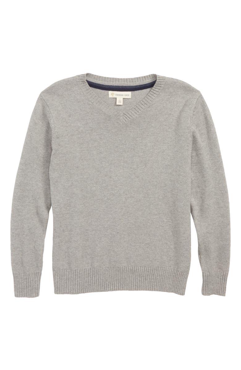 NORDSTROM V-Neck Sweater, Main, color, GREY MEDIUM HEATHER