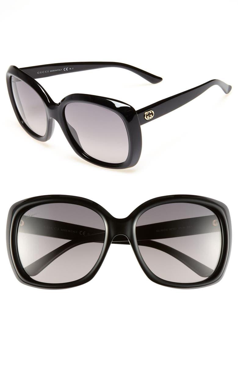 GUCCI 57mm Sunglasses, Main, color, 001