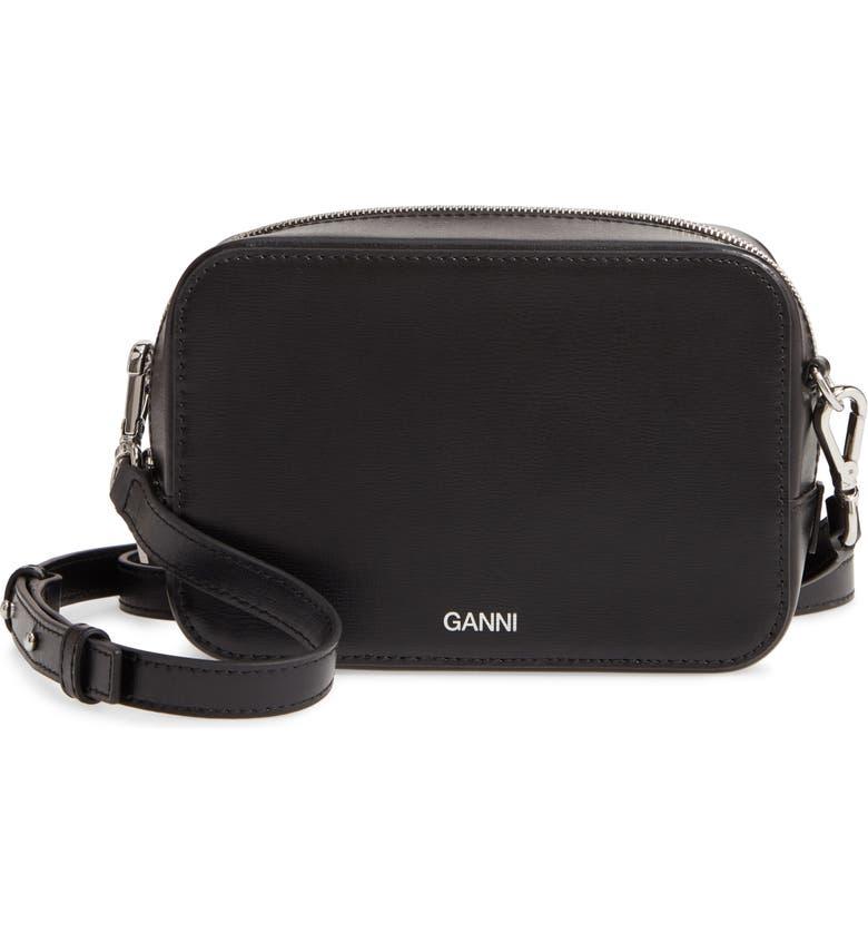 GANNI Textured Leather Camera Crossbody Bag, Main, color, BLACK