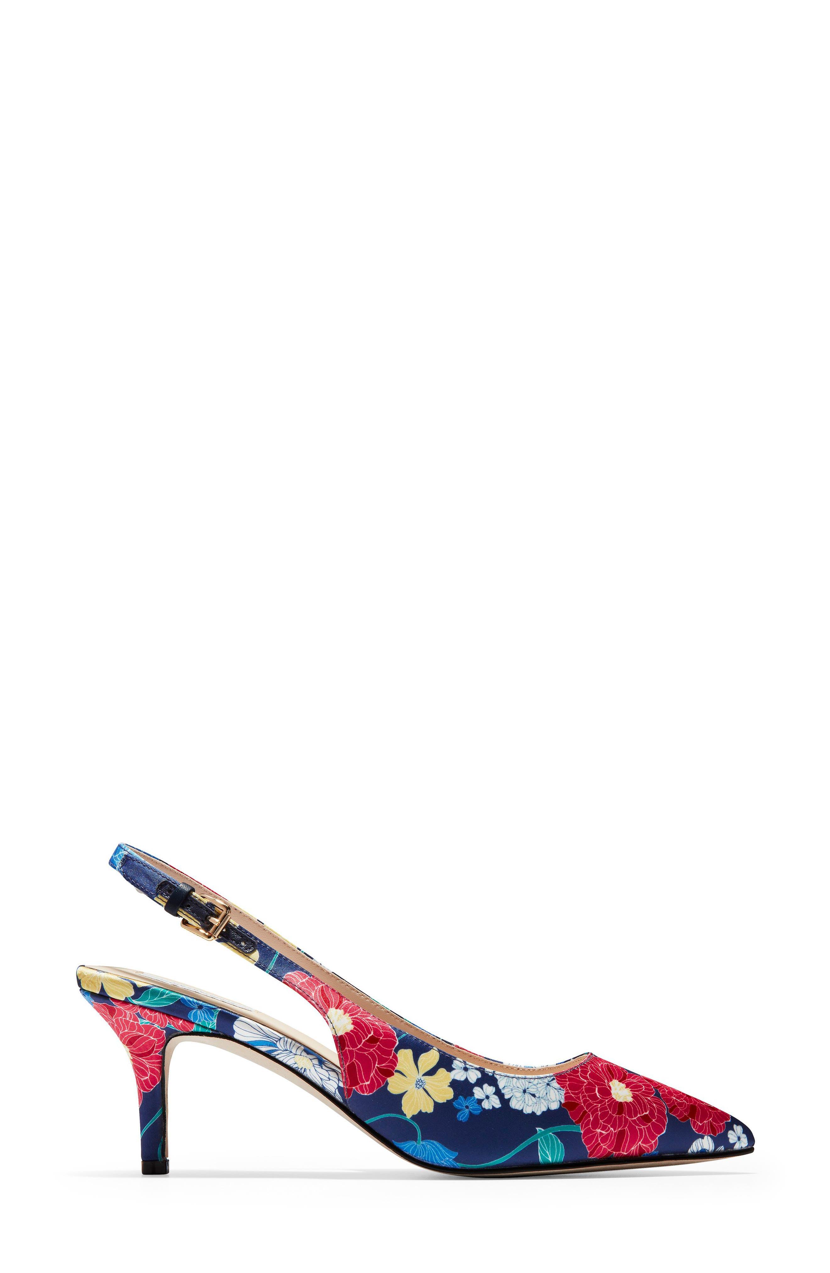 ,                             Vesta Slingback Pump,                             Alternate thumbnail 3, color,                             FLORAL PRINT FABRIC