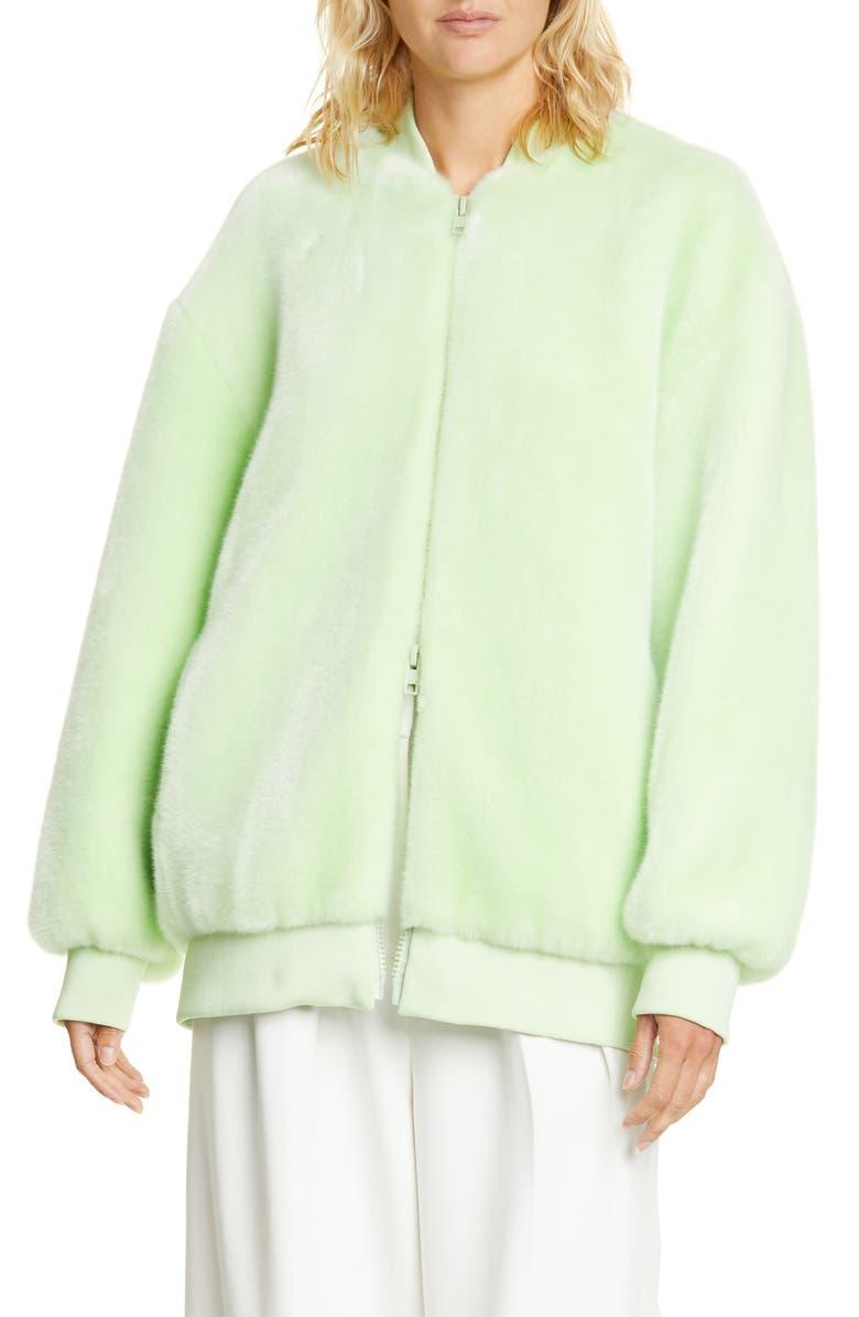 TIBI Oversize Faux Fur Bomber Jacket, Main, color, MINT