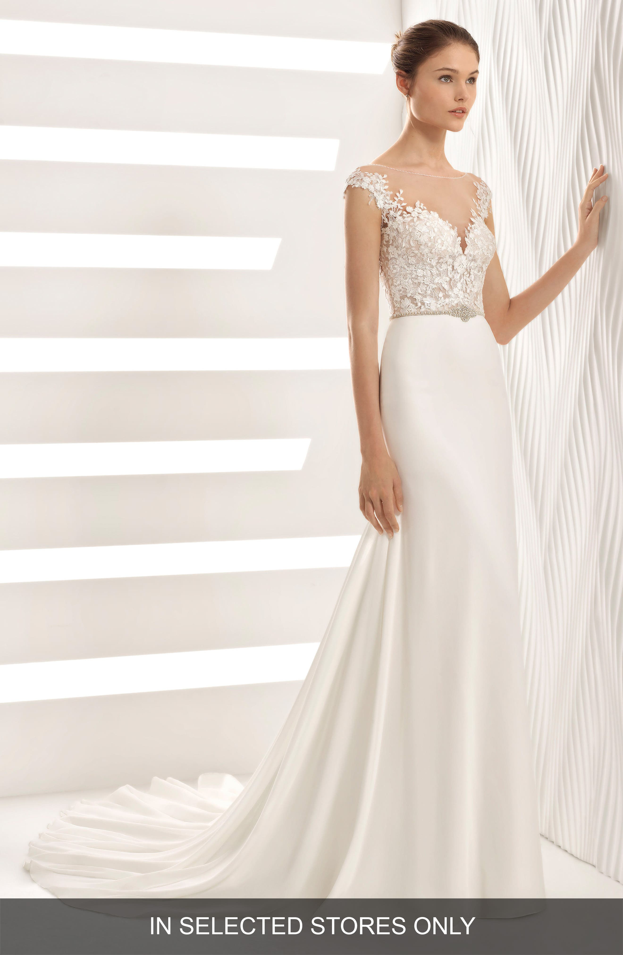,                             Astrid Lace & Georgette Trumpet Gown,                             Main thumbnail 1, color,                             NATURAL