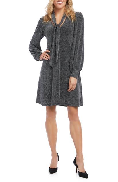 Karen Kane Dresses TAYLOR LONG SLEEVE TIE NECK DRESS