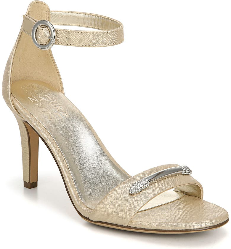 NATURALIZER Kinsley Ankle Strap Sandal, Main, color, GOLD FAUX LEATHER