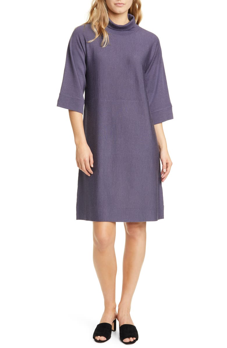EILEEN FISHER Merino Wool Shift Dress, Main, color, BLUE SHALE