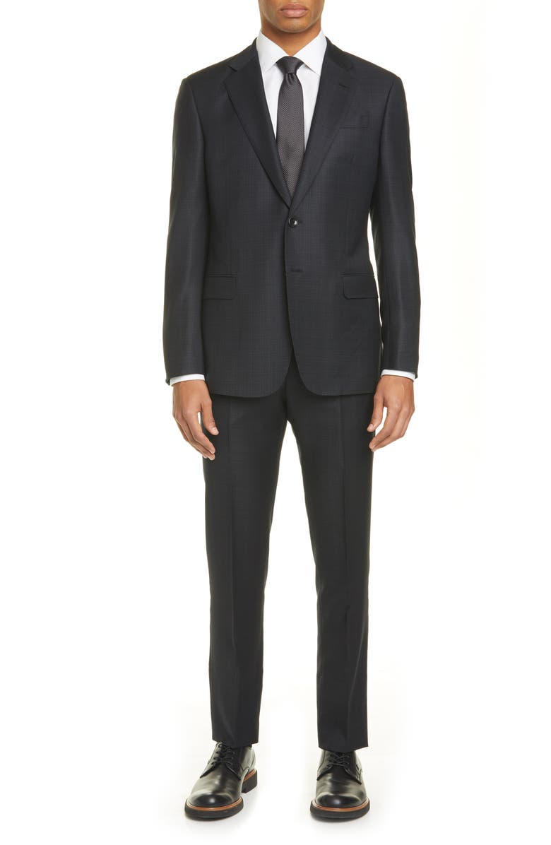 GIORGIO ARMANI Trim Fit Check Wool Suit, Main, color, 001